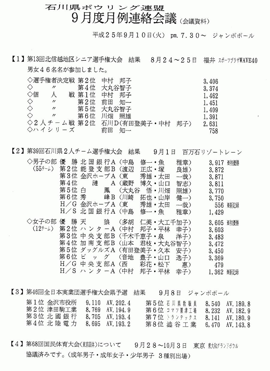 石川県ボウリング連盟 2013年9月度 月例連絡会議_01