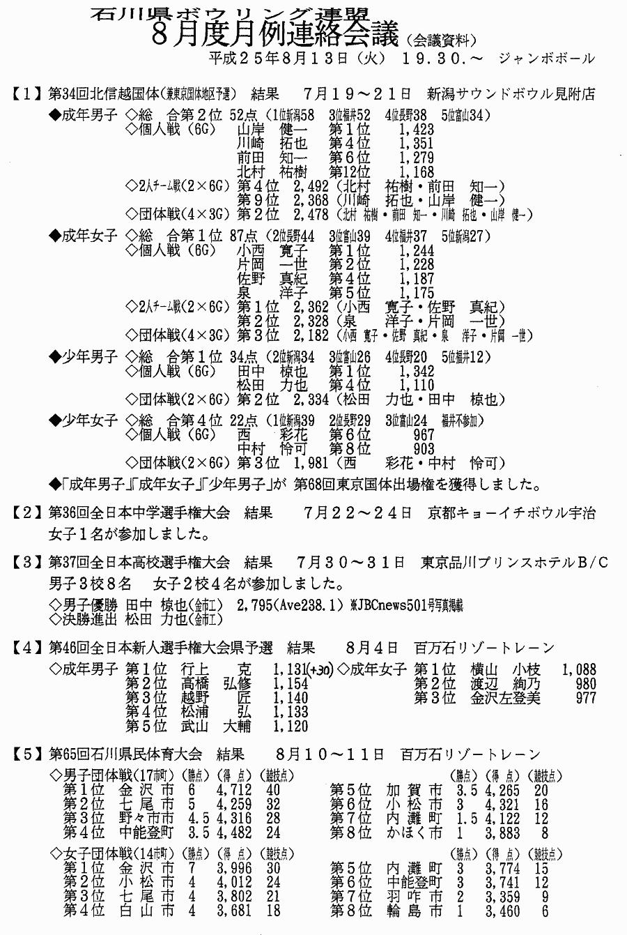 石川県ボウリング連盟 2013年8月度 月例連絡会議_01