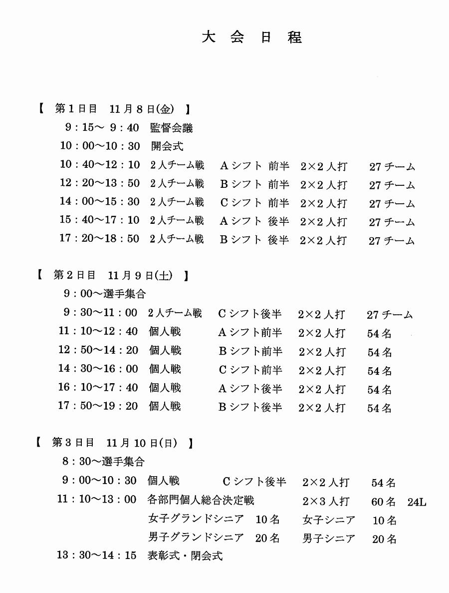 第4回 東日本ボウリング競技大会 スケジュール