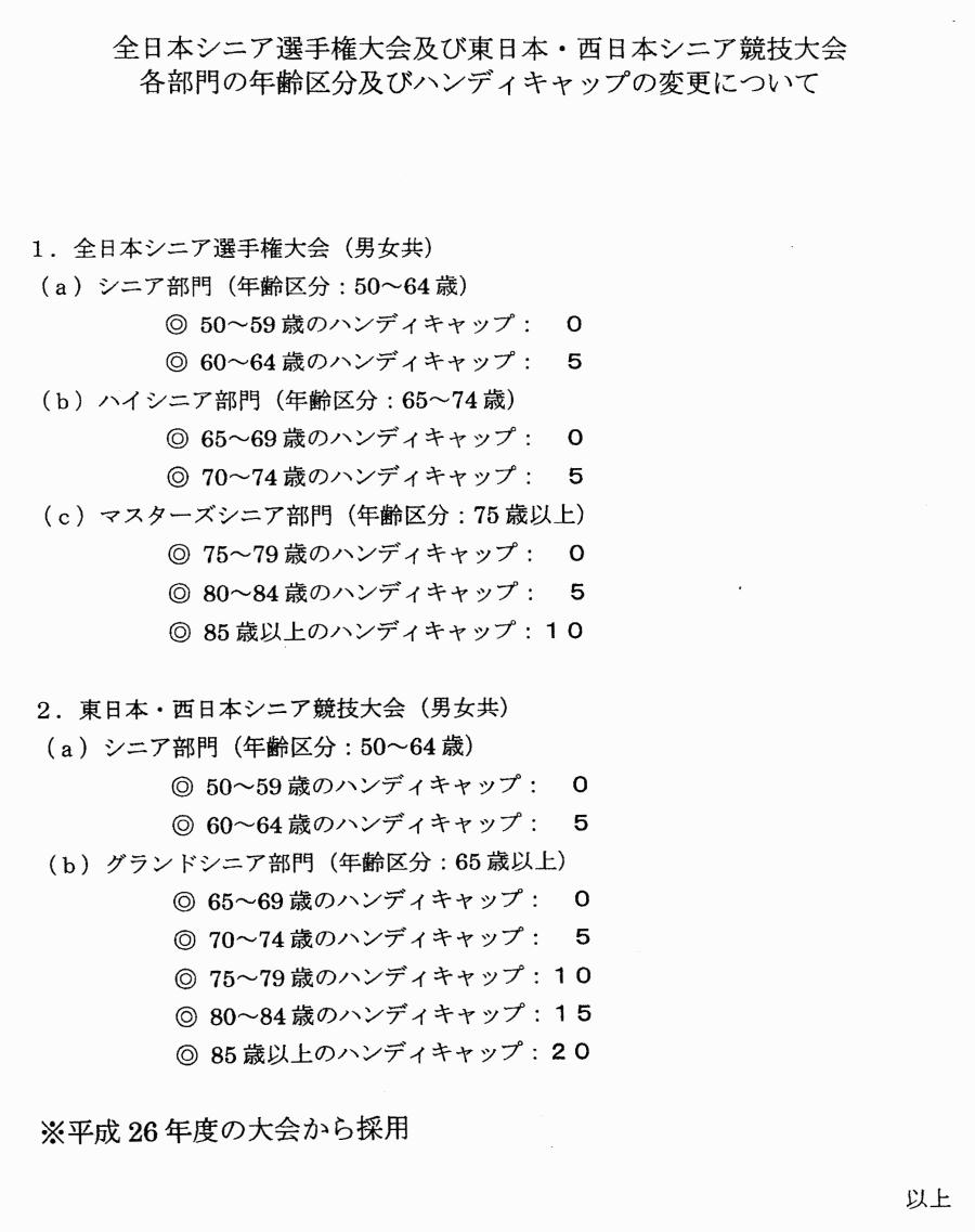 全日本シニア選手権大会及び東日本シニア競技会の内容変更