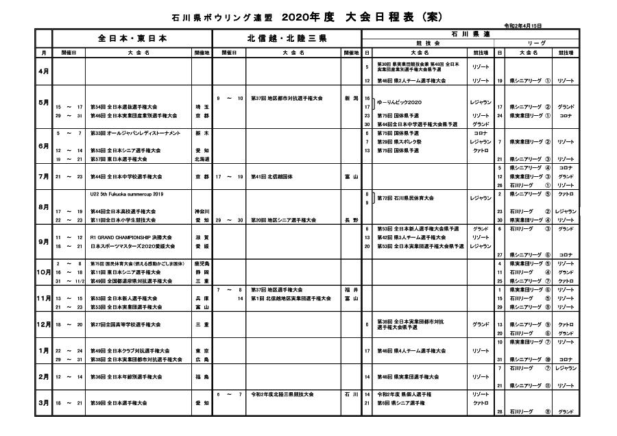2020年度 大会日程表